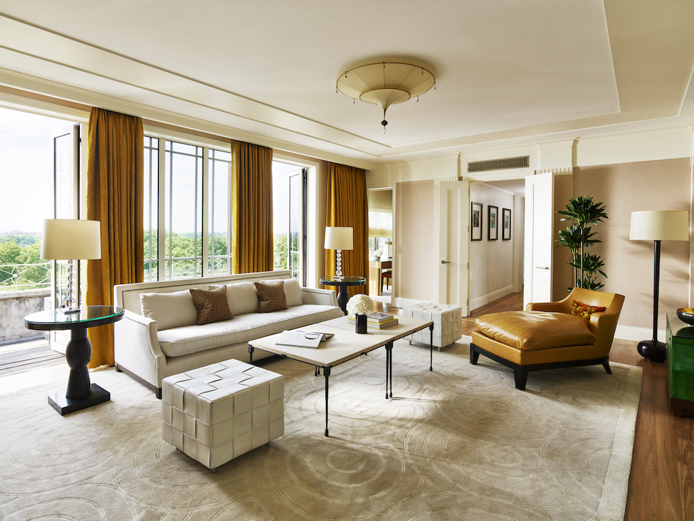 The light-flooded living room inside The Dorchester Harlequin Penthouse Suite