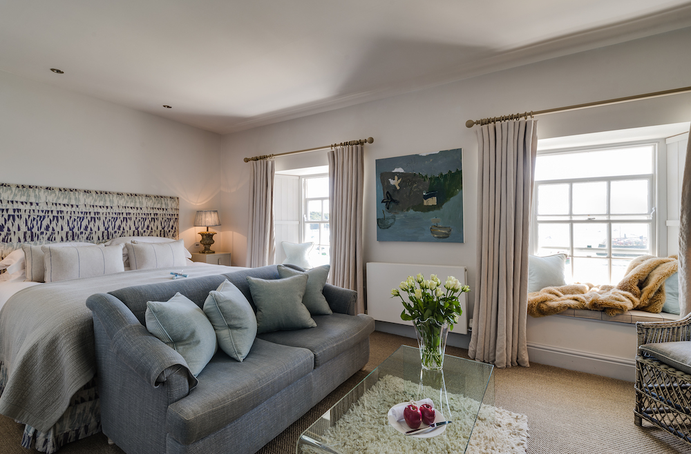 Grand seaview room with coastal themed interiors inside The Idle Rocks, St Mawes