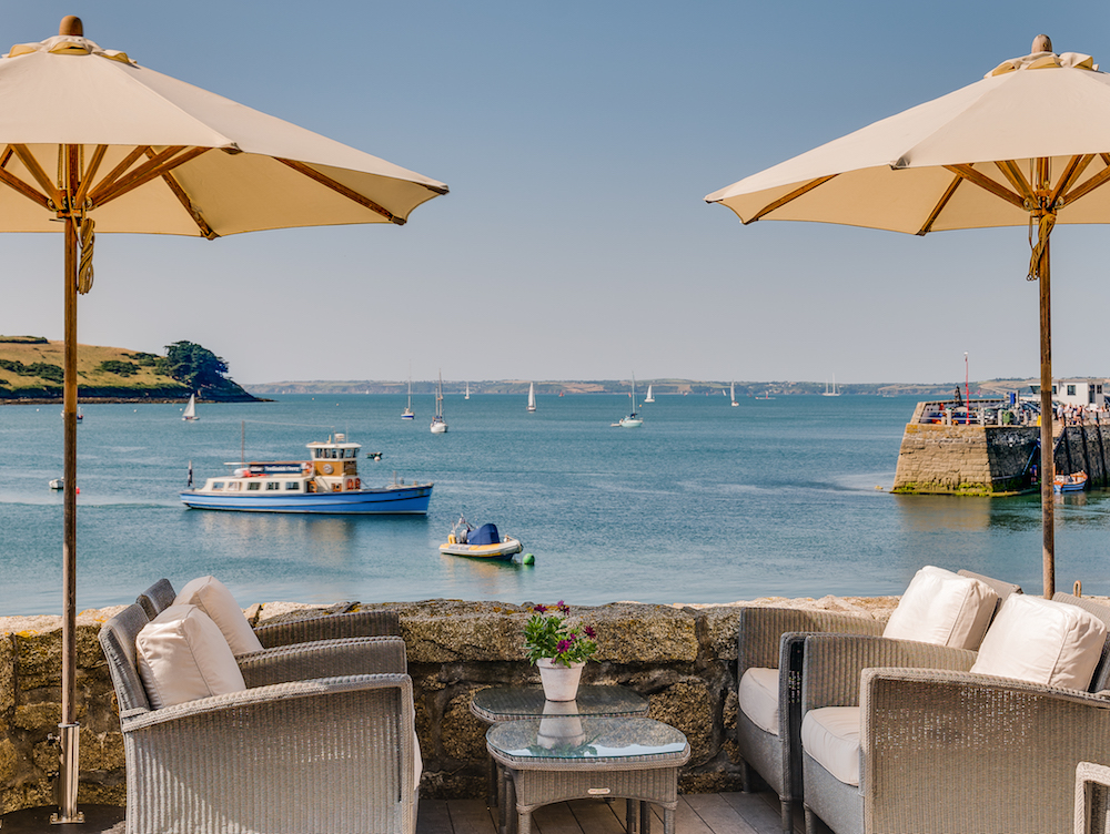 The Terrace at The Idle Rocks, St Mawes, which overlooks the harbour