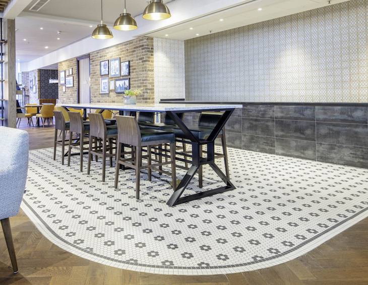 Geometric tiled walls inside Marriott Hotel Kensington