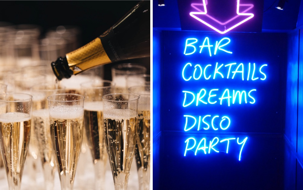 Image of champagne and sign to party