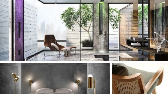 A collection of bathroom products, lighting and furniture