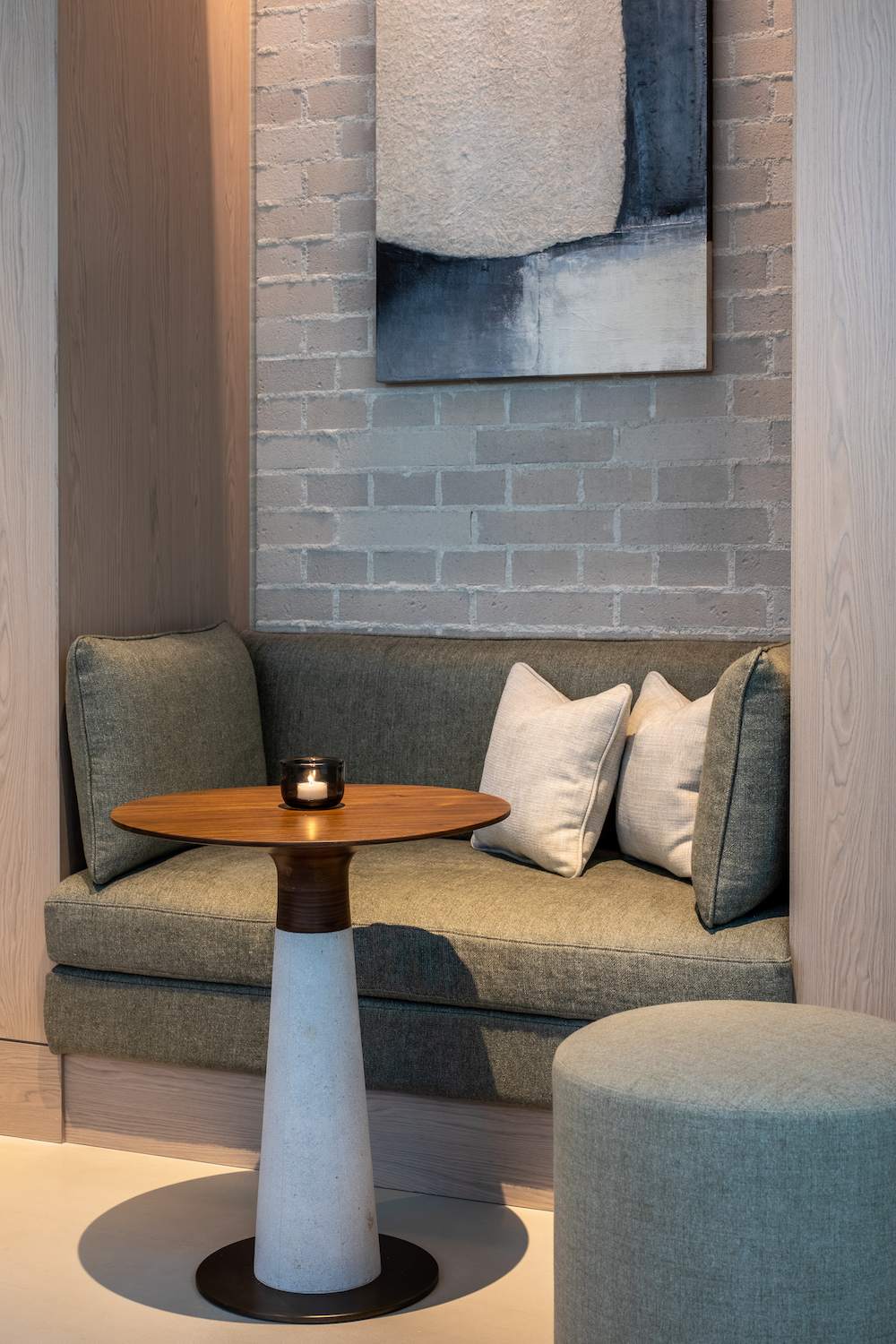A booth seating in the lounge of a hotel