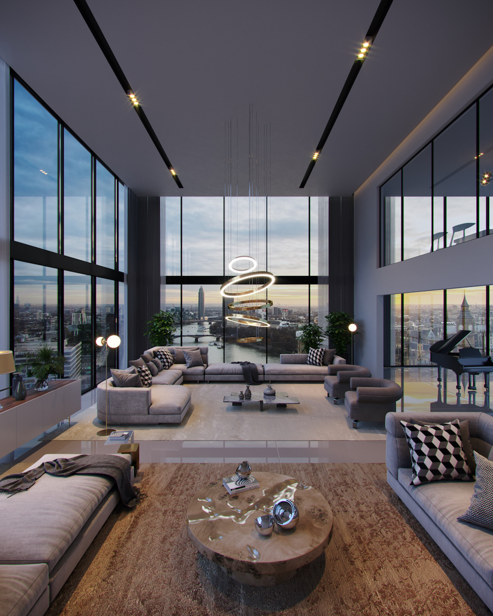 Image of large contemporary lounge with high ceiling and statement chandelier