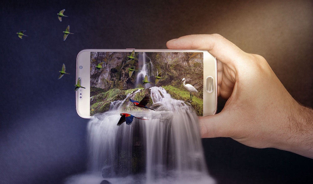 Waterfall coming out of phone