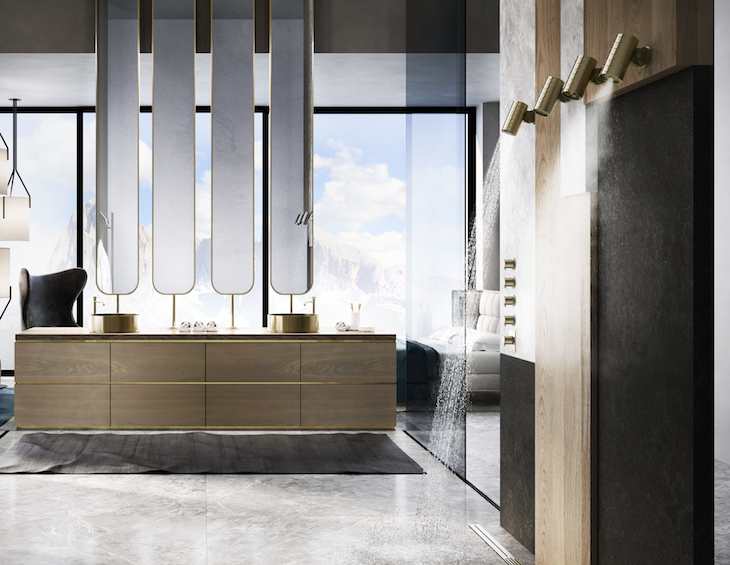 A render of a shower in a bathroom that looks like a light