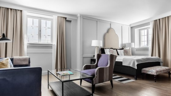 Render of luxury suite inside Hotell Reisen in Sweden