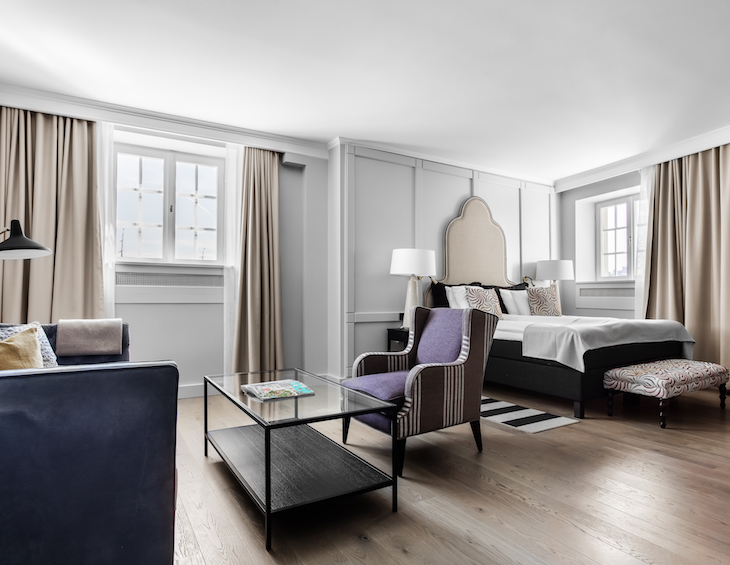 Render of luxury suite inside Hotell Reisen in Sweden
