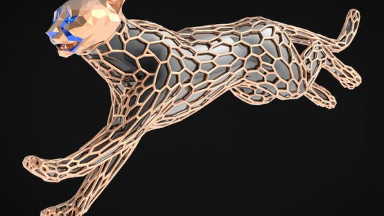 Image of sculpture of running cheetah