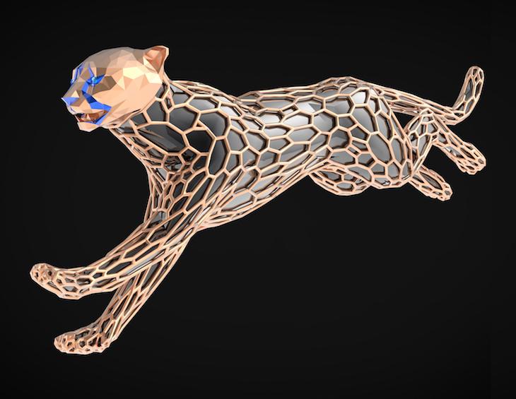 Image of sculpture of running cheetah