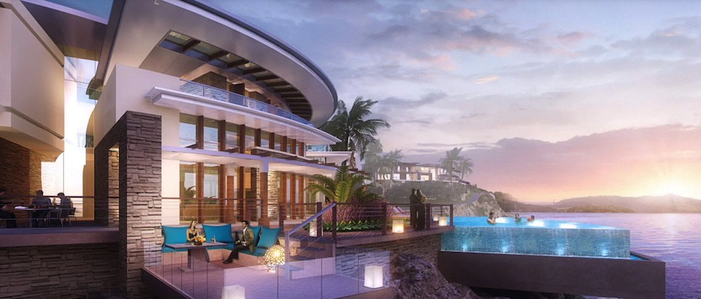 Render of infinity pool in LXR hotel in the Seychelles