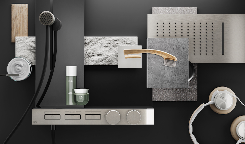 Moodboard featuring Gessi products