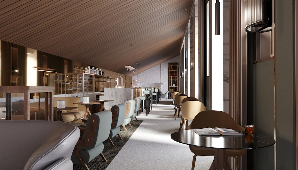 A render of a modern and contemporary bar/lounge within the hotel