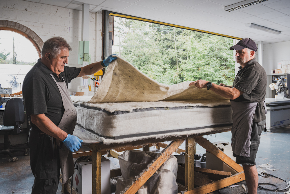 Two men in the factory designing and making Naturalmat mattresses