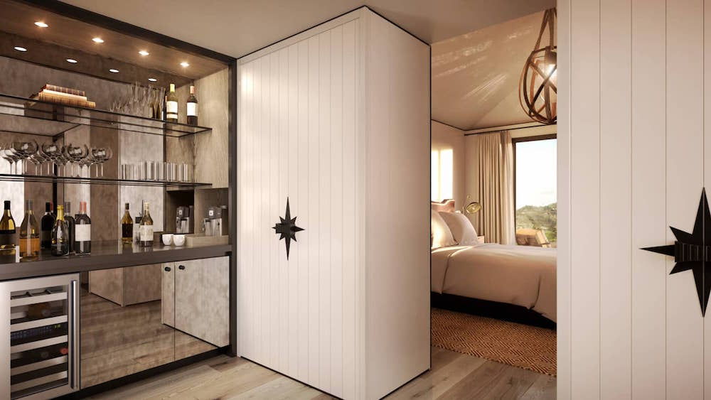 Render of mini bar and guestroom inside Four Seasons hotel in Napa Valley