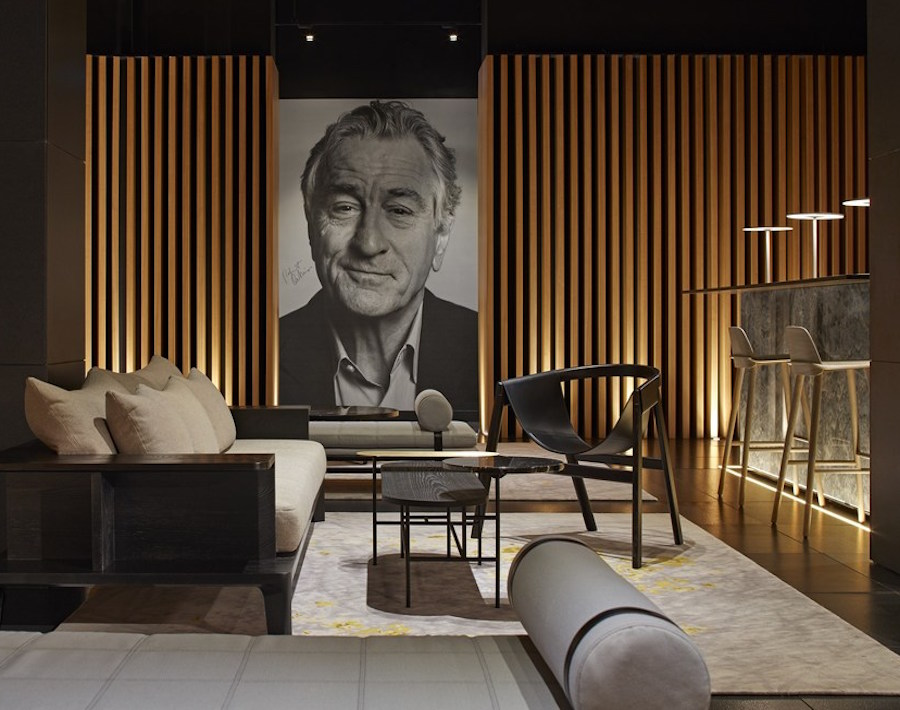 Image of Robert De Nero on wall of Japanese style interior design