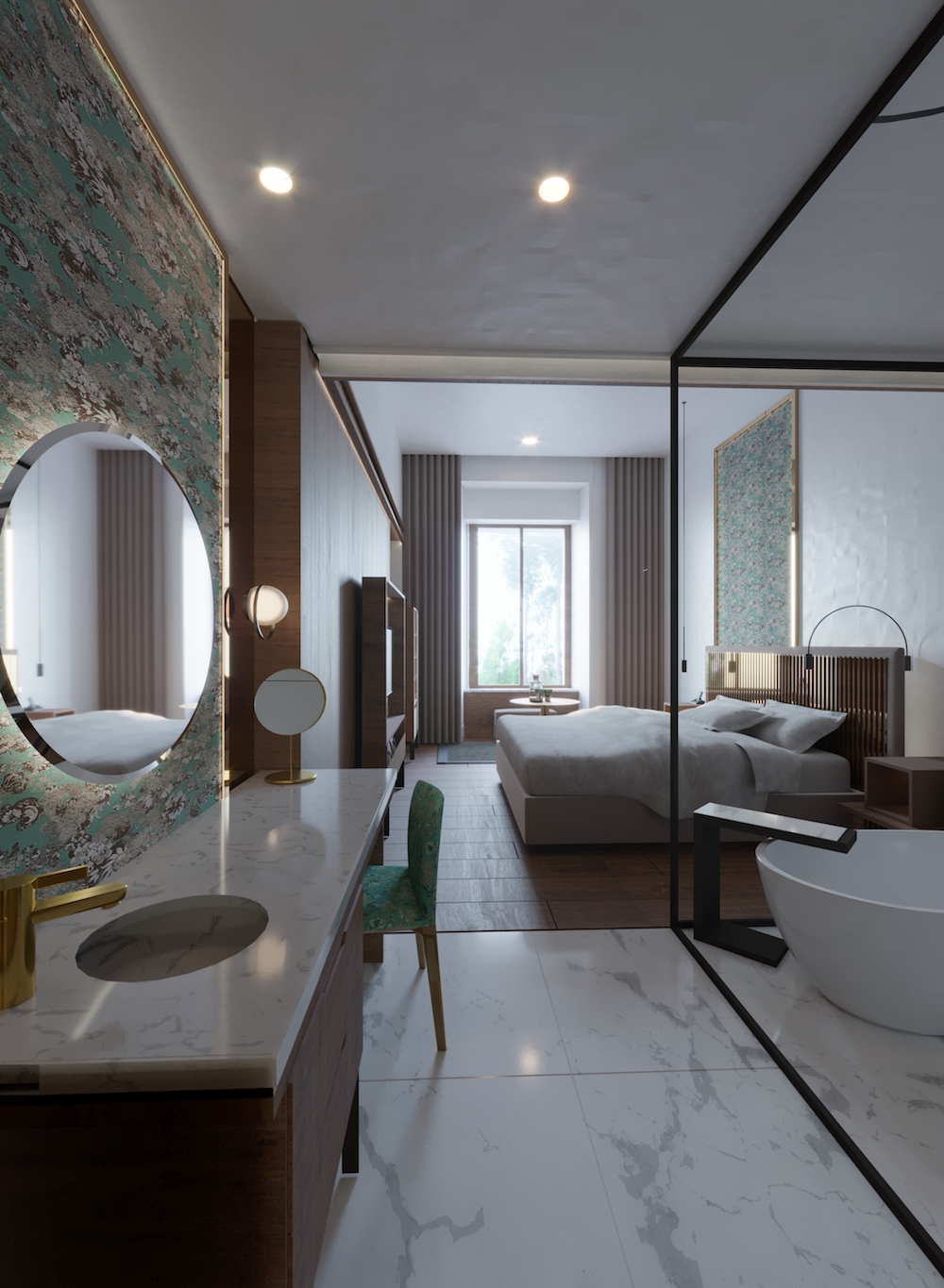 Render of the walkway into the modern guestroom inside the hotel