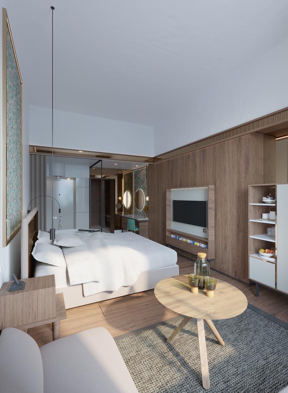 Render of a modern guestroom inside the hotel