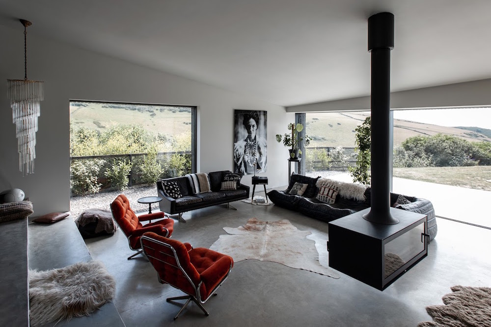 A monochrome style open-planned living area