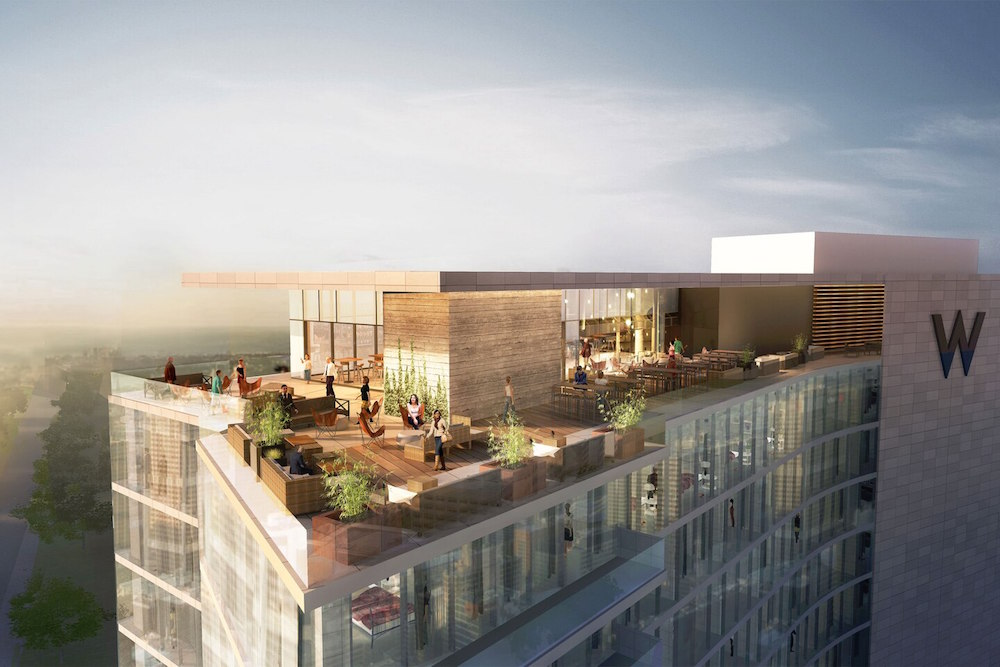 Exterior render of W Nashville - with rooftop terrace