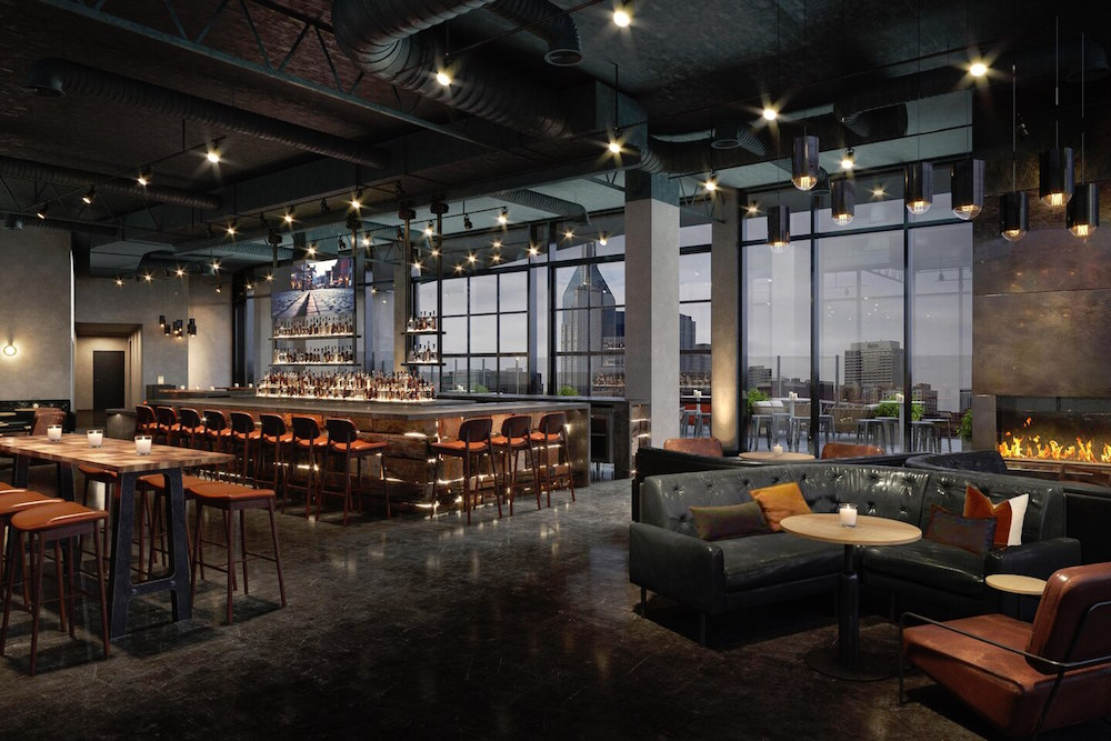 Dark-toned rooftop bar inside W Nashville