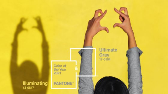 pantone colour of the year: woman in grey standing in front of yellow backdrop