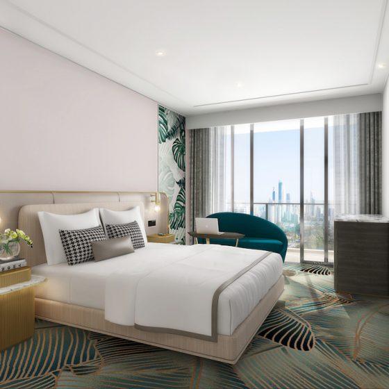 Render of sophisticated guestroom