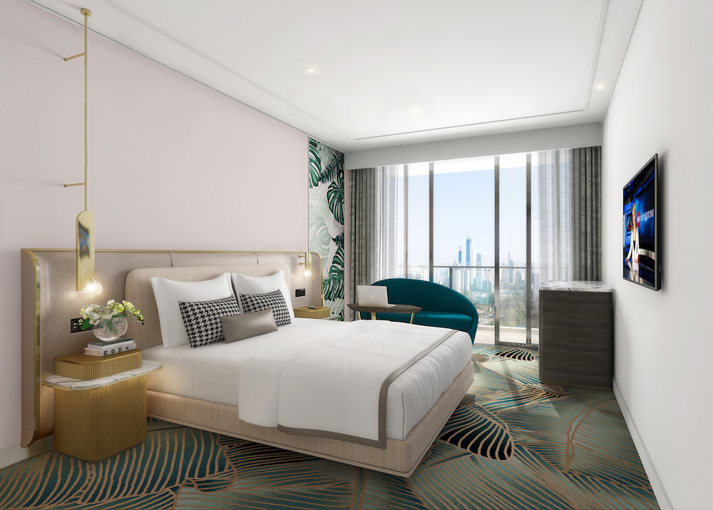 render of guestroom showing botanical carpets and luxury tones
