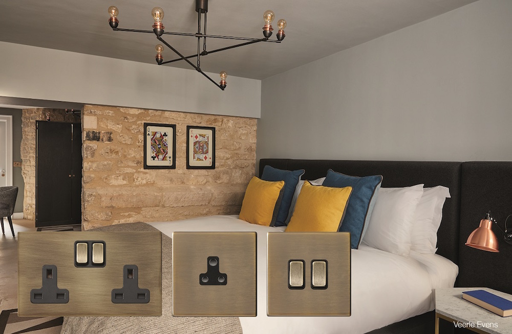 Image of cut-out switch plates in luxury suite