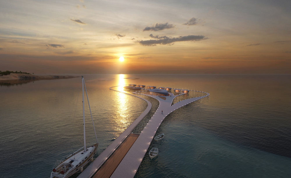 Render of the floating hotel at sunset