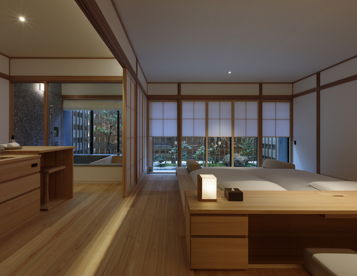 A minimalist guestroom in the hotel opening in Japan soon