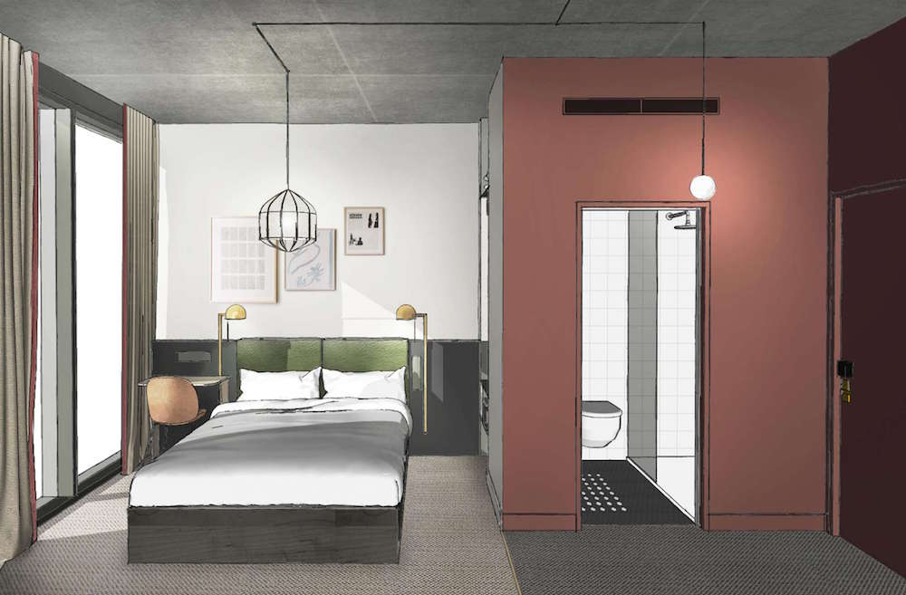 Render of guestroom inside NoCo london