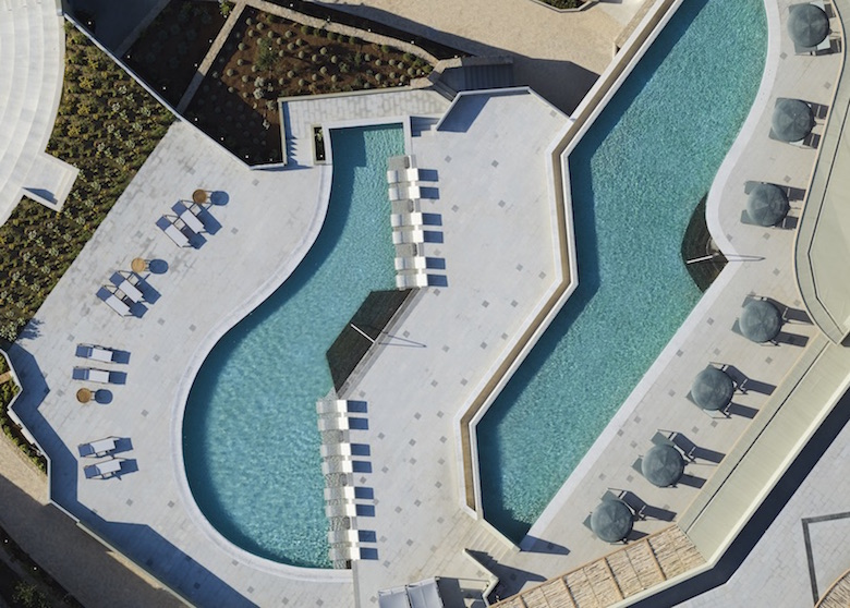 An arial view of the cutting edge swimming pools