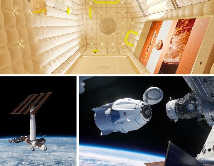 Collage of Axiom space station - hotel in space