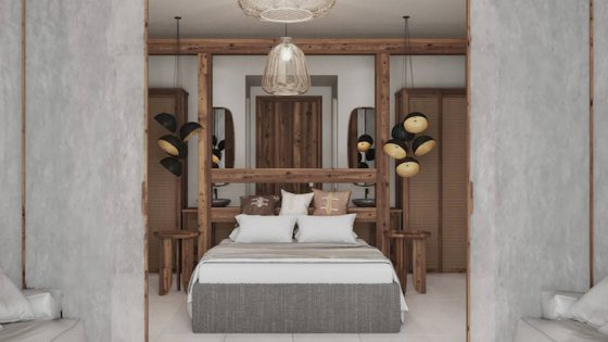 A render of an organic guestroom inside the Hilton hotel in Crete