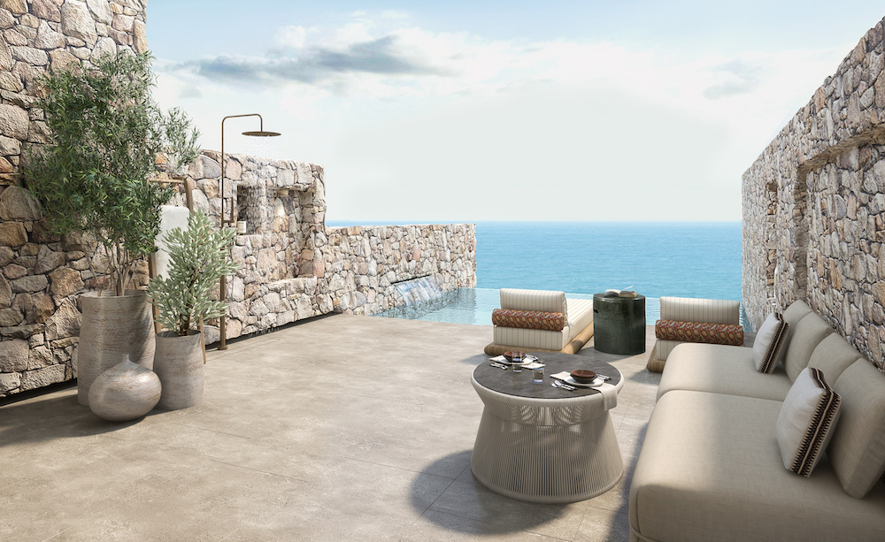 A render of private pool terrace overlooking sea