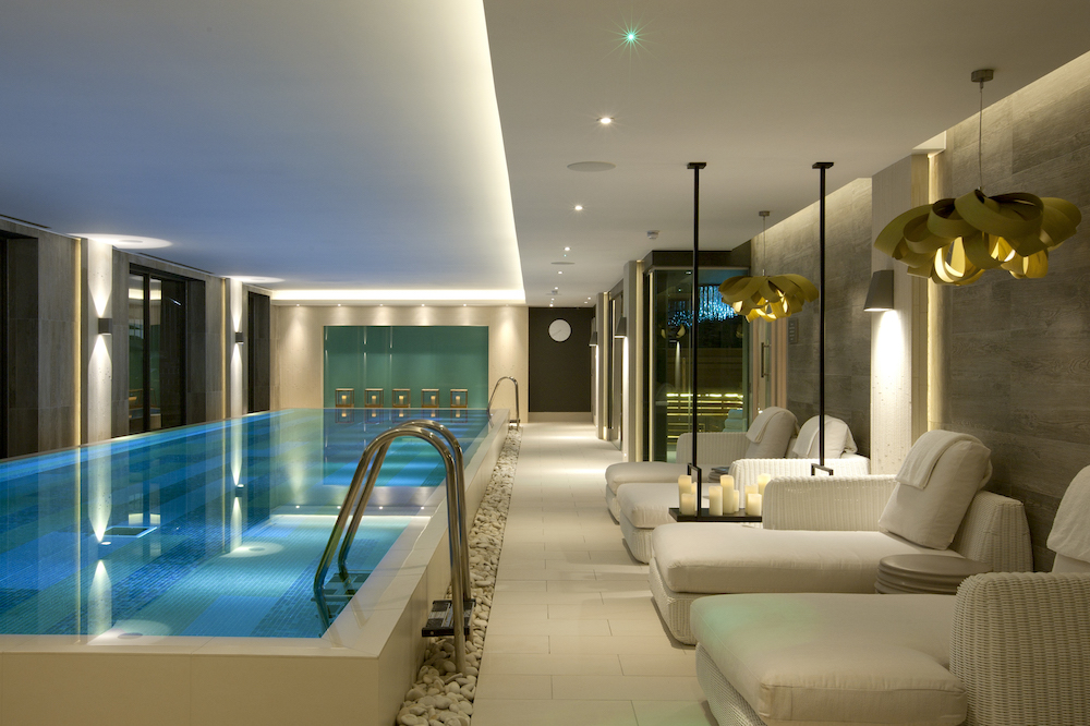 A luxury pool and seating area