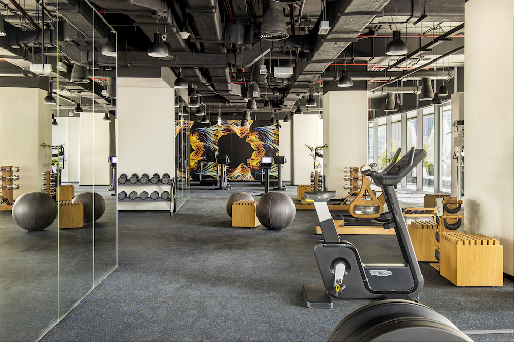 An industrial-styled gym in ME Dubai