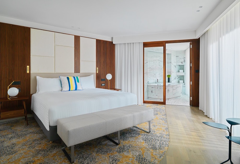Bedroom inside presidential suite of the Marriott Malta hotel