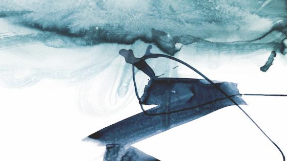 A blue abstract art installation