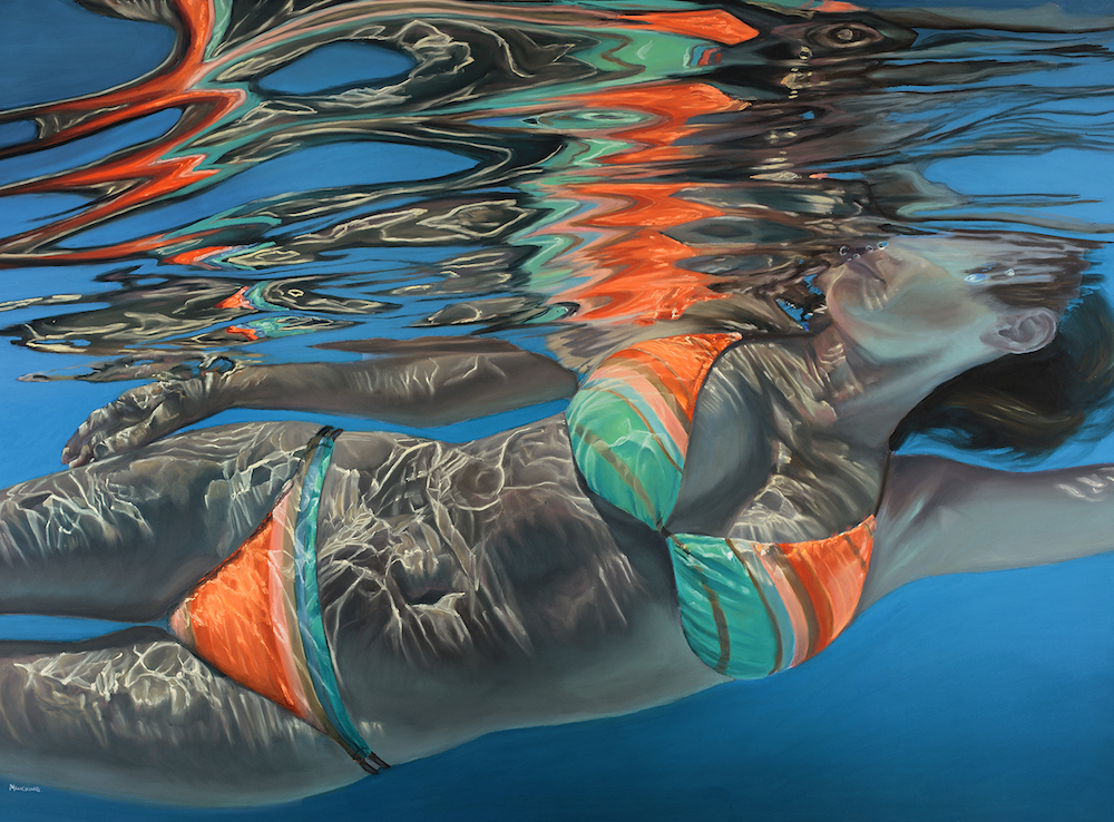 a painting of a woman swimming in a bikini