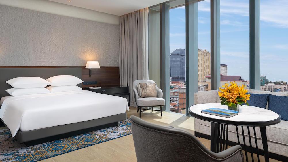 A render of a modern guestroom in the Hyatt Hotel