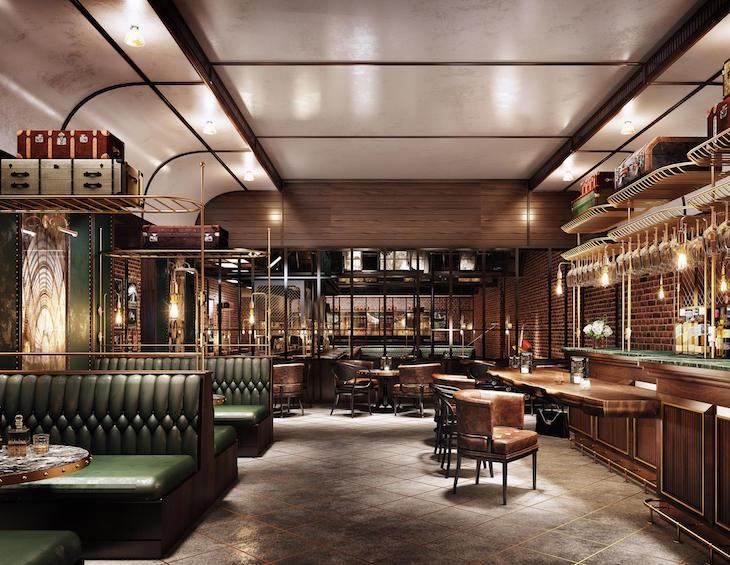 A render of a stylish bar