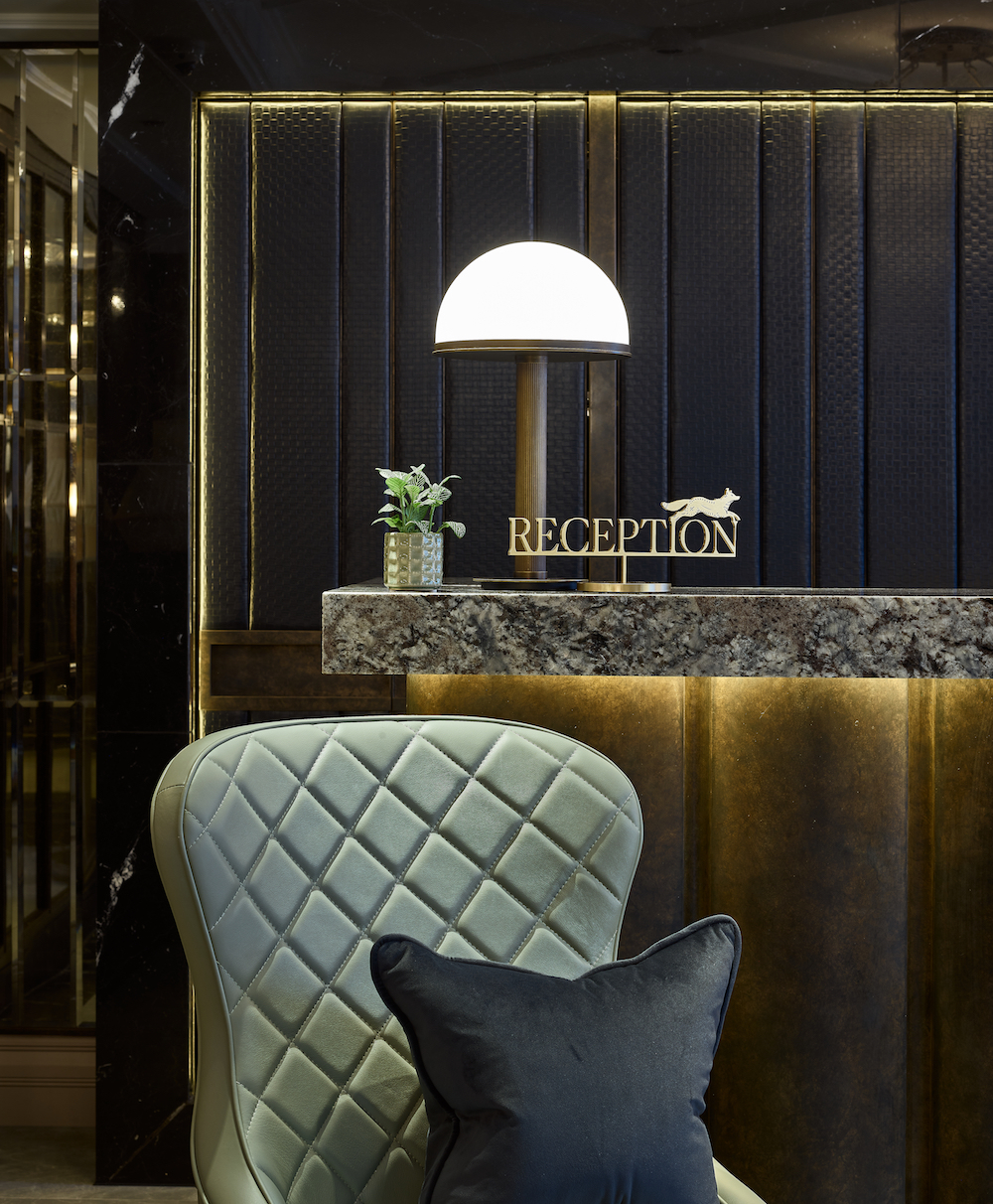 Textured leather seat in reception of hotel