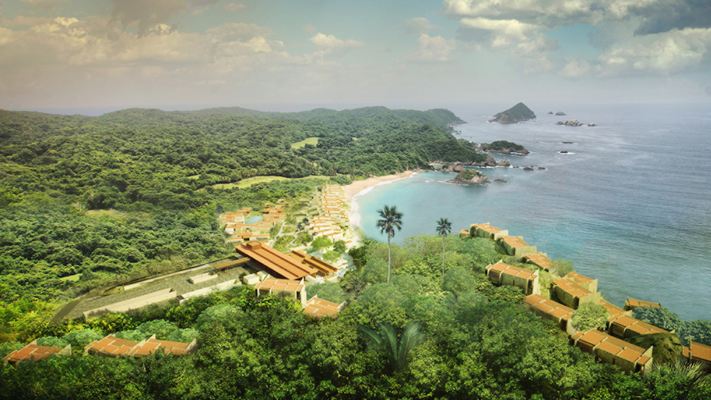 A render of the eco architecturally structured hotel overlooking the ocean