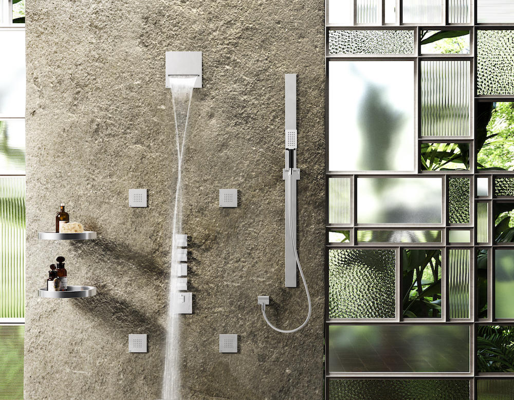 A modern shower on an earthy wall