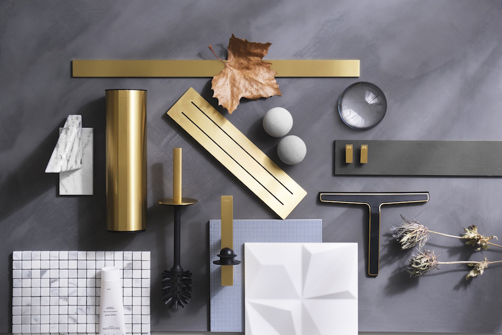A moodboard of innovative modern bathroom accessories