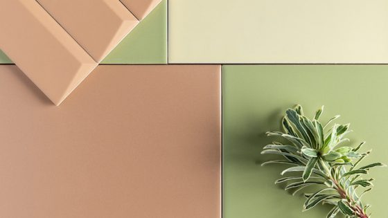Contrasting green and light brown tiles
