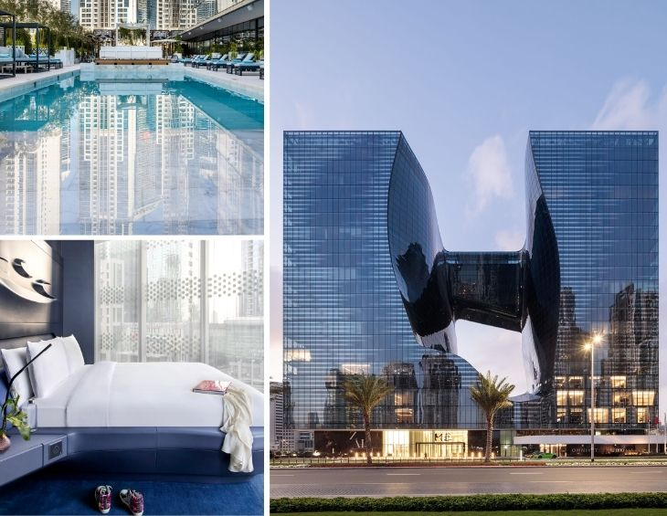 Collage of ME Dubai, including the exterior of the building, the sleek bedrooms and the luxury pool area