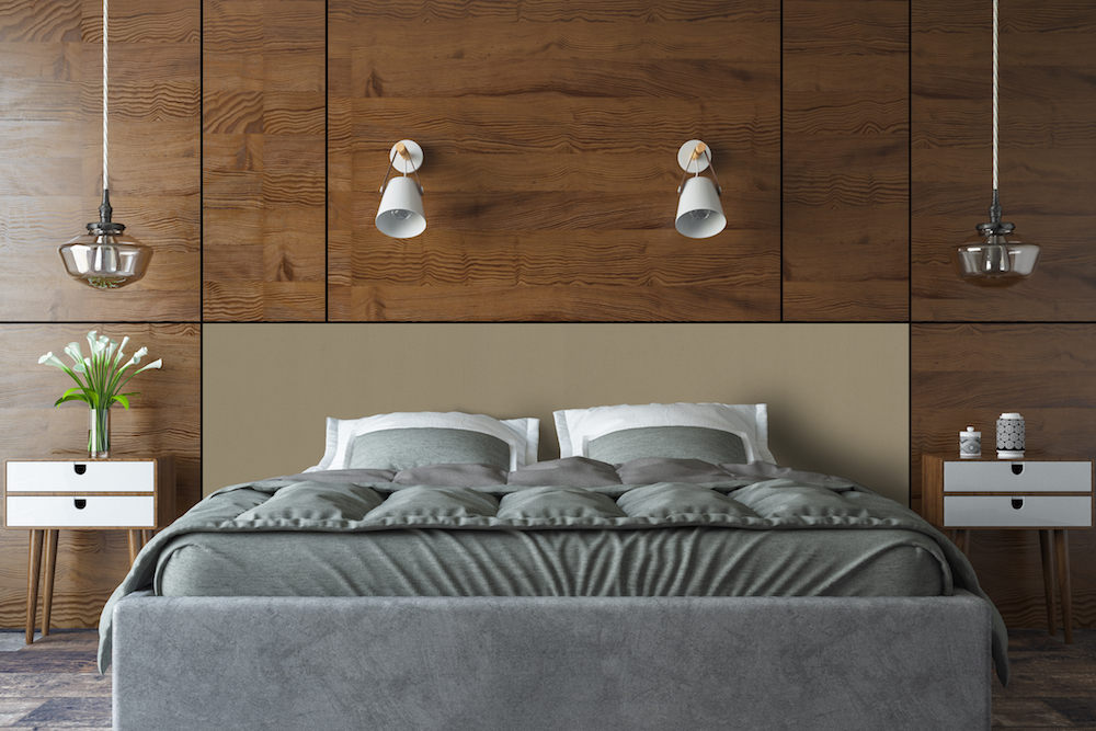 image of sustainable wooden headboard in bedroom